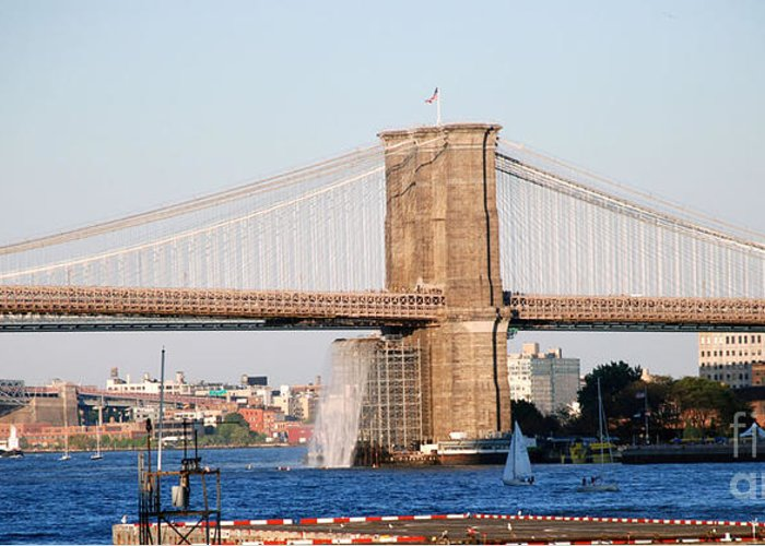 Bridge Greeting Card featuring the photograph NYC by Terri Creasy