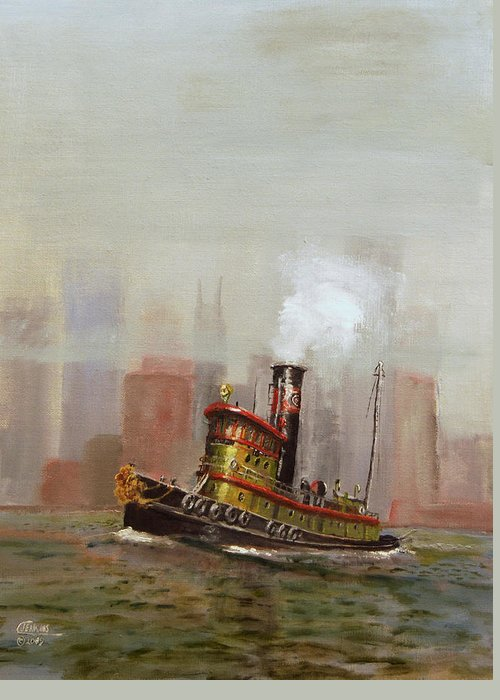 Tug Greeting Card featuring the painting Nyc Tug by Christopher Jenkins