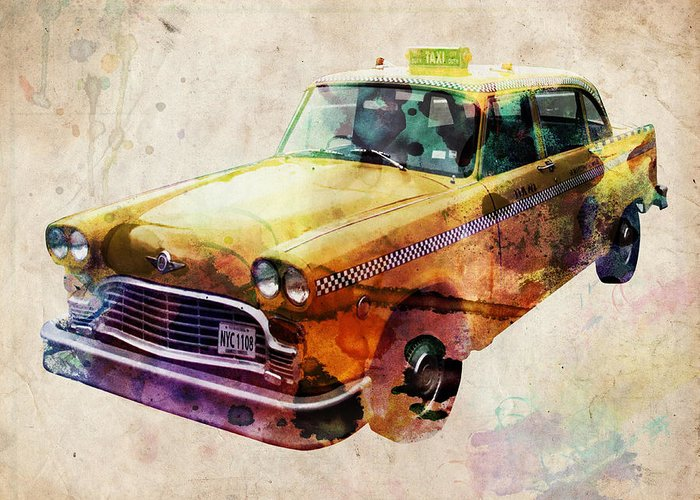 Nyc Greeting Card featuring the digital art Nyc Yellow Cab by Michael Tompsett