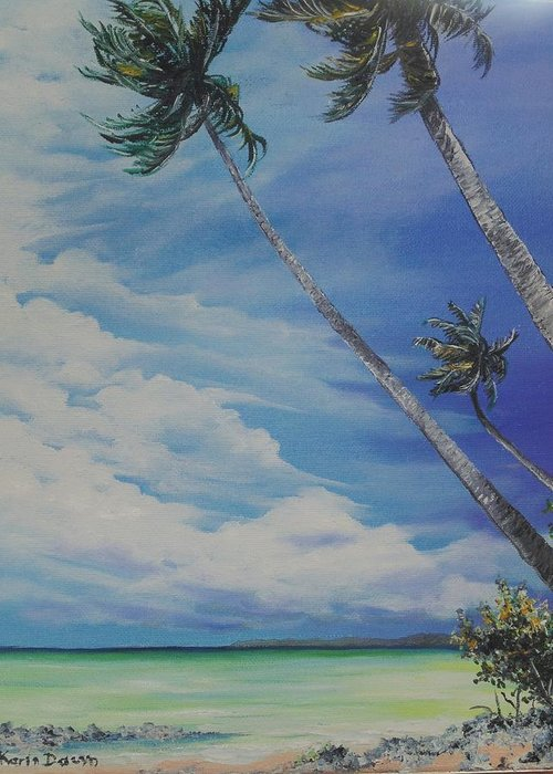 Trinidad And Tobago Seascape Greeting Card featuring the painting Nylon Pool Tobago. by Karin Dawn Kelshall- Best