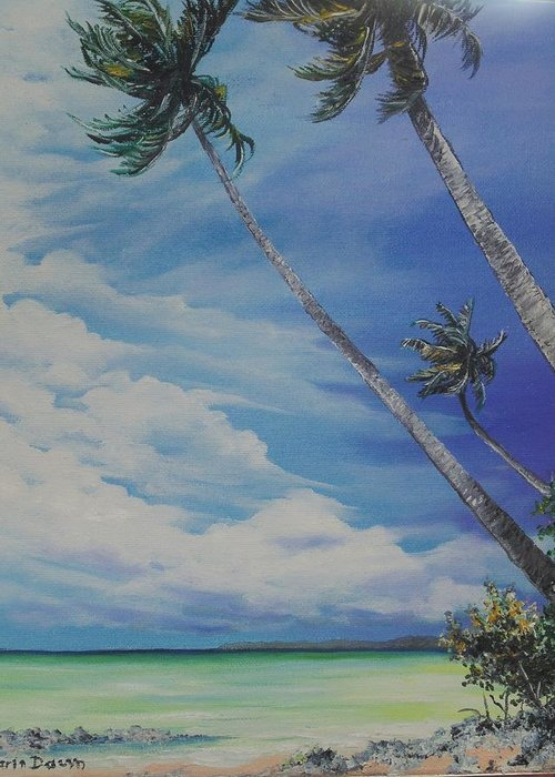 Ocean Painting Seascape Painting Beach Painting Palm Tree Painting Clouds Painting Tobago Painting Caribbean Painting Sea Beach T Obago Palm Trees Greeting Card featuring the painting Nylon Pool Tobago. by Karin Dawn Kelshall- Best
