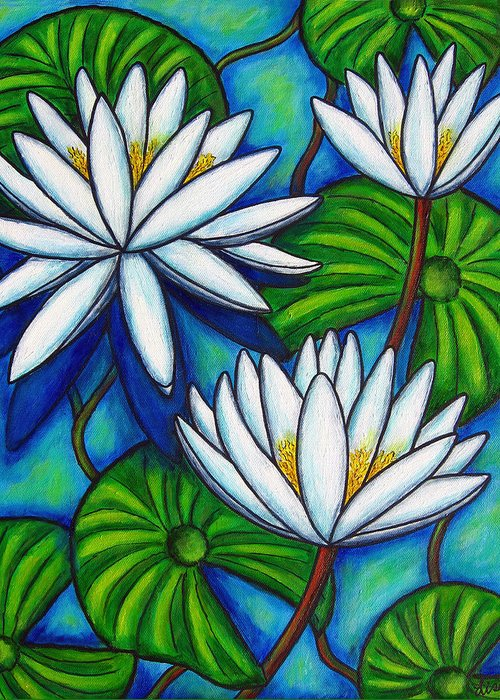 Lily Greeting Card featuring the painting Nymphaea Blue by Lisa Lorenz