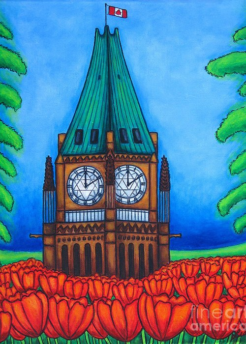 Canada Greeting Card featuring the painting O Canada by Lisa Lorenz