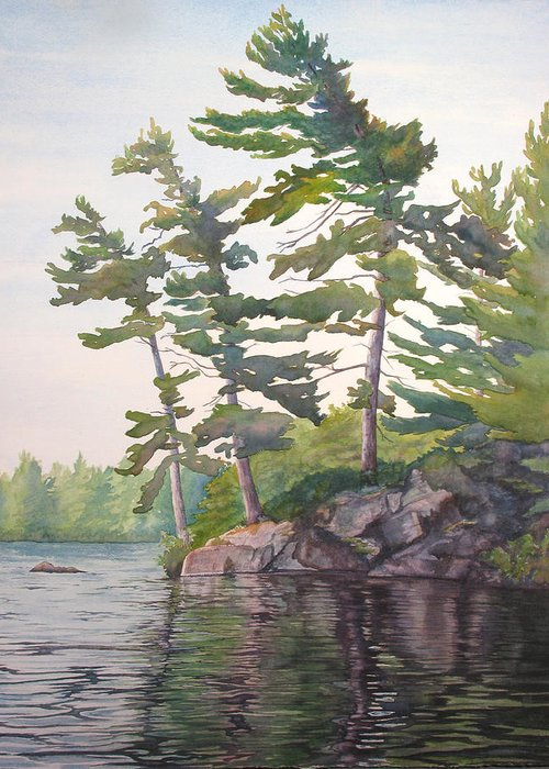 Rocks Greeting Card featuring the painting O Canada No.2 by Debbie Homewood