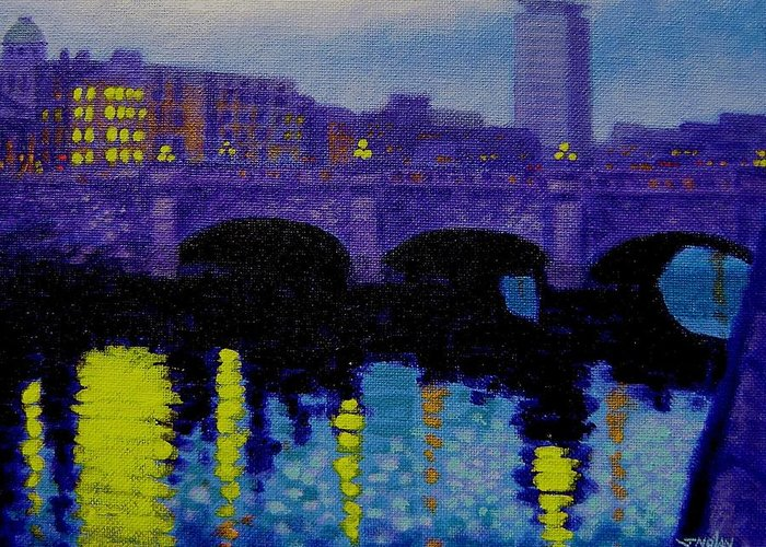 Ireland Greeting Card featuring the painting O Connell Bridge - Dublin by John Nolan