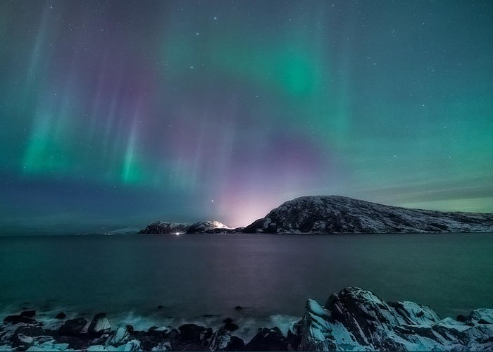 Aurora Borealis Greeting Card featuring the photograph O Holy Night by Tor-Ivar Naess