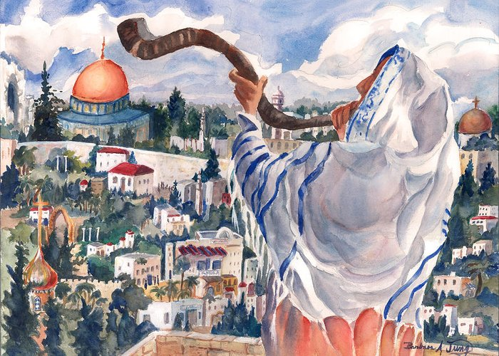 Holy Land Greeting Card featuring the painting O Jerusalem by Barbara Jung
