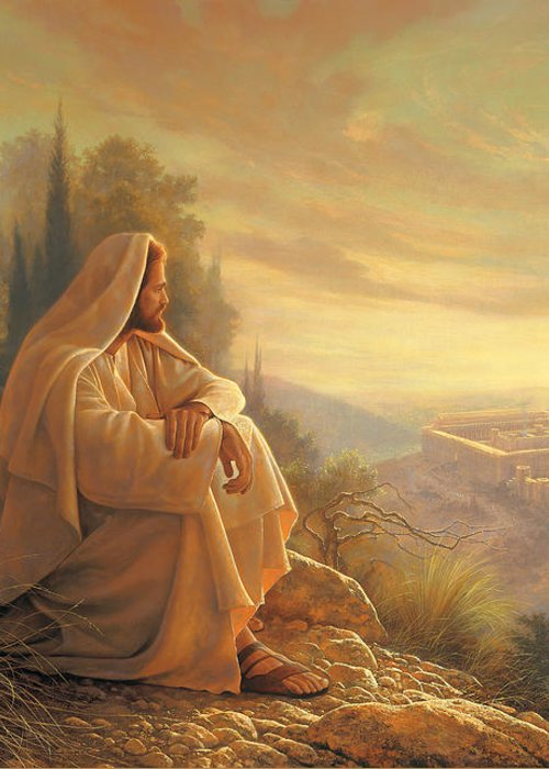 Esus Greeting Card featuring the painting O Jerusalem by Greg Olsen