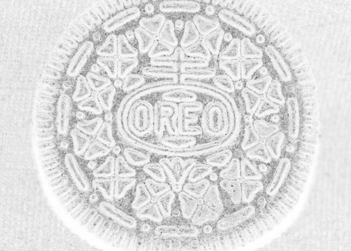 Oreo Greeting Card featuring the photograph O R E O In White by Rob Hans