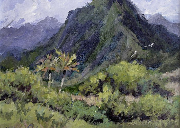 Hawaii Mountain Greeting Card featuring the painting Oahu Valley by L Diane Johnson