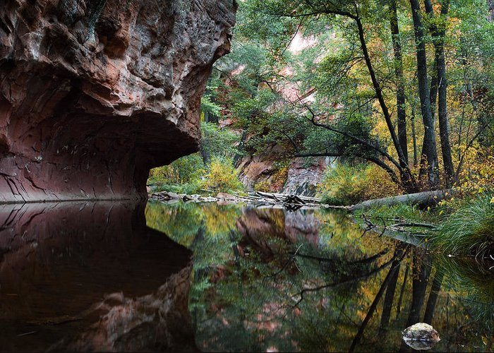 Oak Greeting Card featuring the photograph Oak Creek Canyon Reflections by Dave Dilli