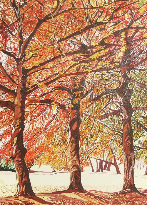 Valentine Magutsa Greeting Card featuring the painting Oak Trees In The Park by Valentine Magutsa