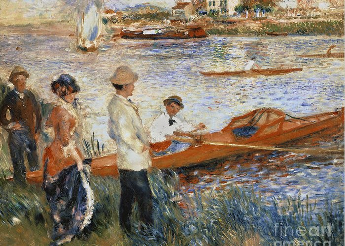 Oarsmen At Chatou Greeting Card featuring the painting Oarsmen At Chatou by Pierre Auguste Renoir