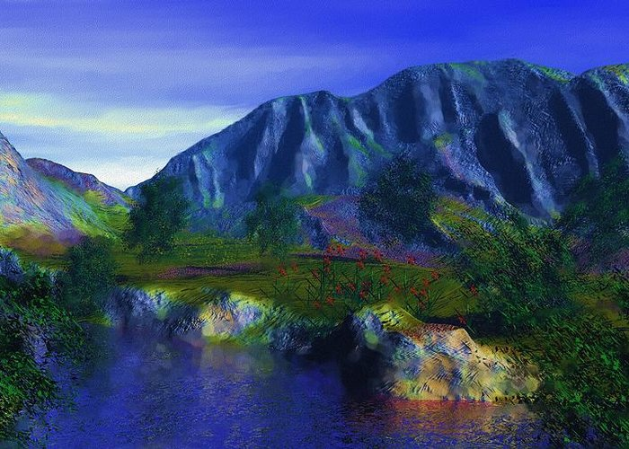 Fine Art Greeting Card featuring the digital art Oasis by David Lane