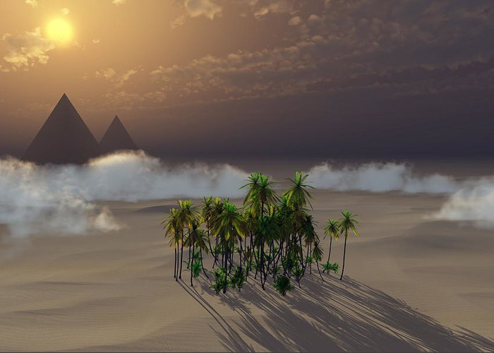 Deserts Greeting Card featuring the digital art Oasis by Richard Rizzo