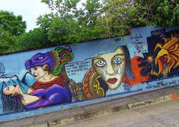 Graffiti Greeting Card featuring the photograph Oaxaca Graffiti by Michael Peychich