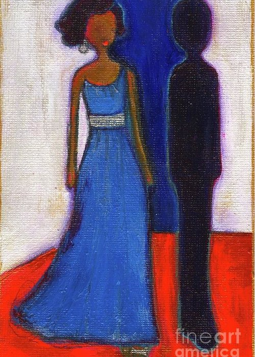 Girl Greeting Card featuring the painting Obama Black And Blue by Ricky Sencion