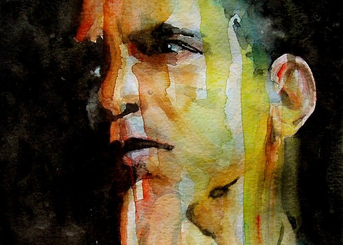 Barack Obama Greeting Card featuring the painting Obama by Paul Lovering