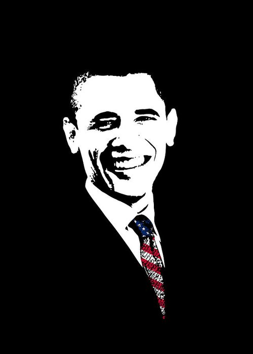 Obama Greeting Card featuring the digital art Obama by War Is Hell Store