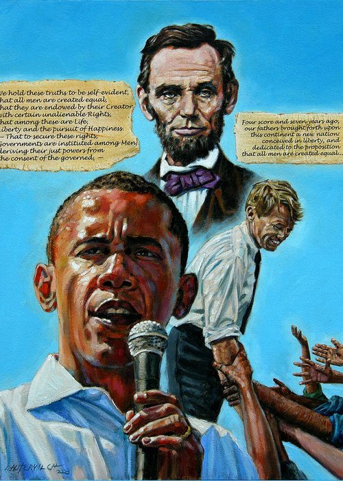 Obama Greeting Card featuring the painting Obamas Heritage by John Lautermilch