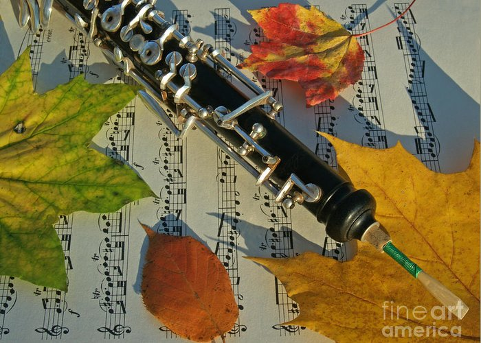 Oboe Greeting Card featuring the photograph Oboe And Sheet Music On Autumn Afternoon by Anna Lisa Yoder
