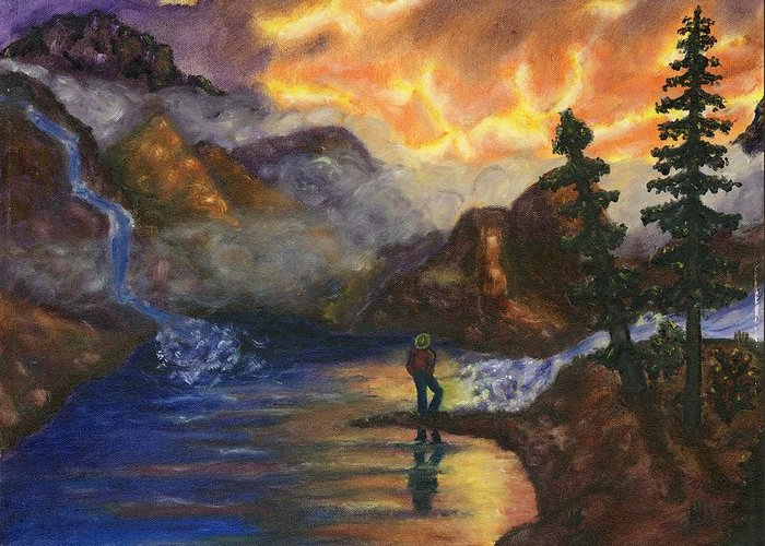 Mountains Greeting Card featuring the painting Observation of Beauty by Tanna Lee M Wells