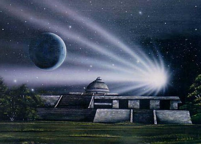 Yucatan Painting Observatorio Maya Pintura Greeting Card featuring the painting Observatorio 2012 by Angel Ortiz
