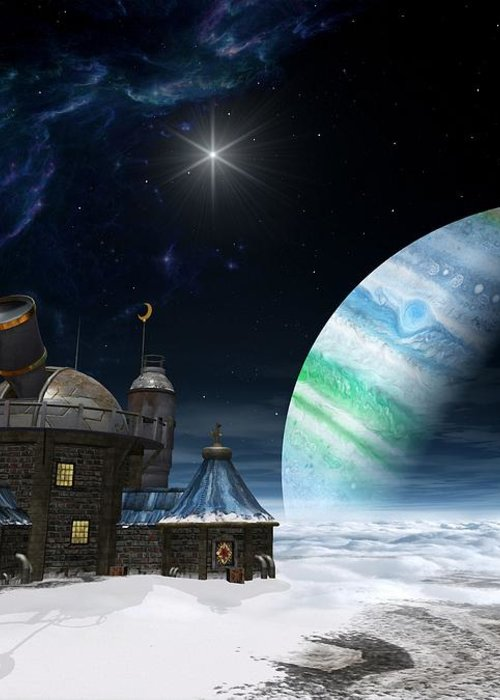 Space Greeting Card featuring the digital art Observatory by Cynthia Decker