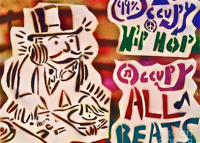 Occupy Greeting Card featuring the painting Occupy All Beats by Tony B Conscious