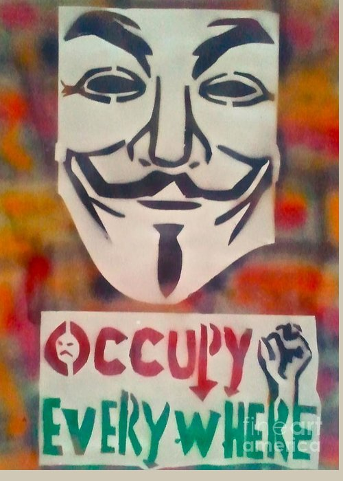 Occupy Greeting Card featuring the painting Occupy Mask by Tony B Conscious