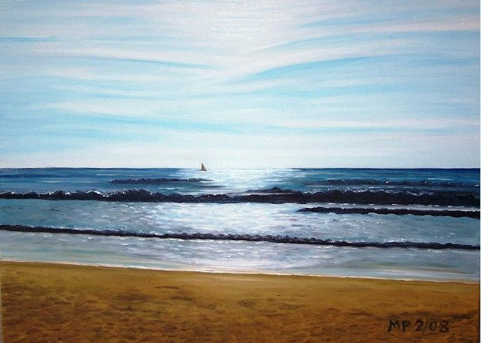 Seascape Greeting Card featuring the painting Ocean And Light by Madeleine Prochazka