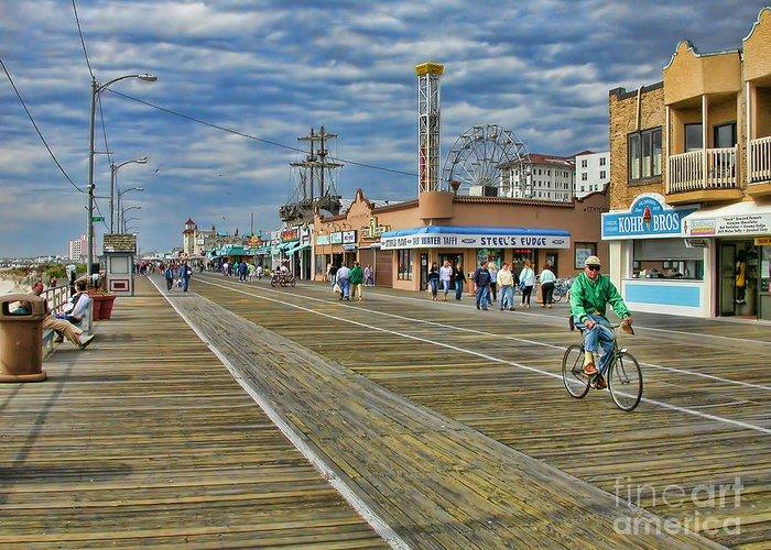 Ocean City Greeting Card featuring the photograph Ocean City Boardwalk by Edward Sobuta