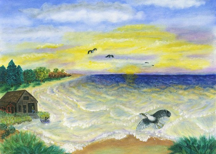 Ocean Greeting Card featuring the painting Ocean Delight by Tanna Lee M Wells