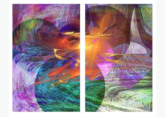 Ocean Fire Greeting Card featuring the digital art Ocean Fire by John Beck