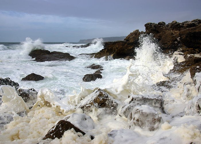 Background Greeting Card featuring the photograph Ocean Foam by Carlos Caetano