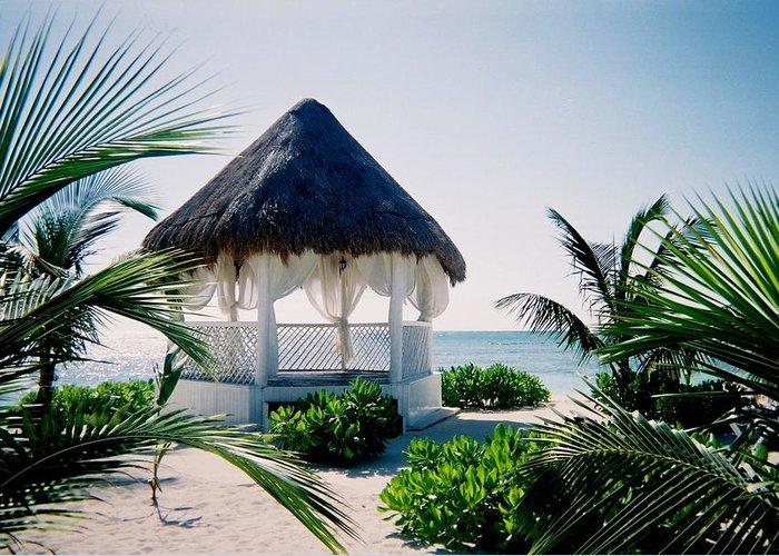 Resort Greeting Card featuring the photograph Ocean Gazebo by Anita Burgermeister