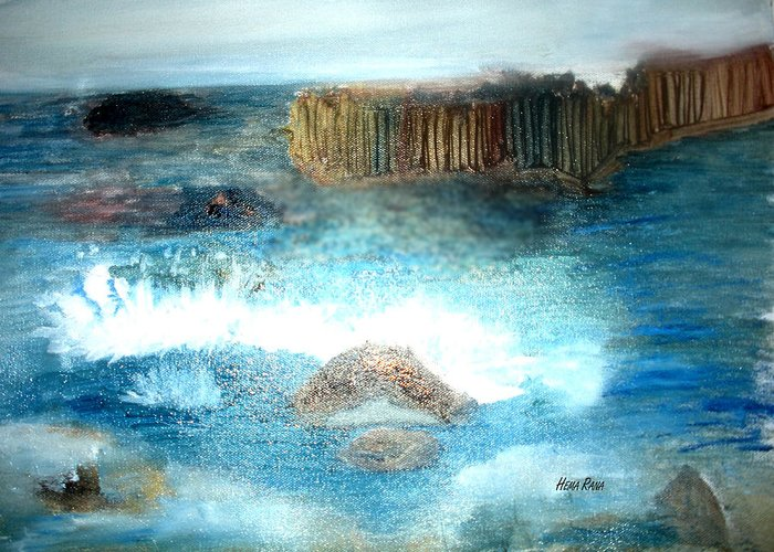 Landsacpe Oil Painting Greeting Card featuring the painting Ocean by Hema Rana