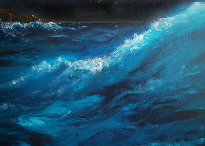 Crashing Waves Greeting Card featuring the painting Ocean II by Patricia Motley