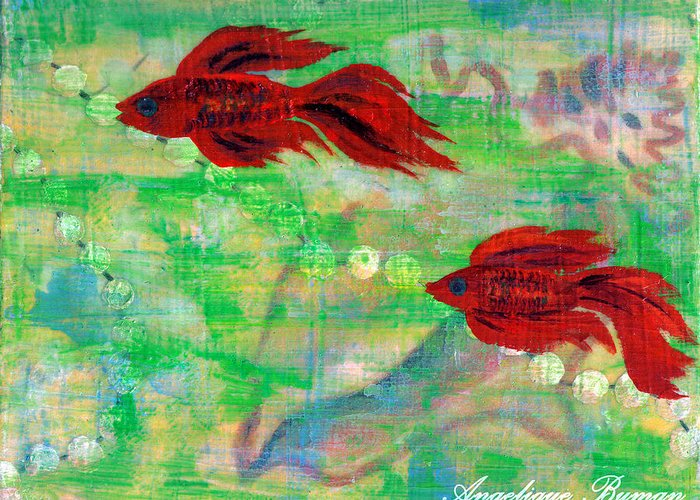 Animals Greeting Card featuring the painting Ocean Layers by Angelique Bowman