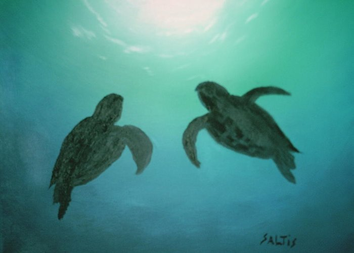 Turtles Acending Into The Surface Light From The Ocean Deep. Greeting Card featuring the painting Ocean Light by Jim Saltis