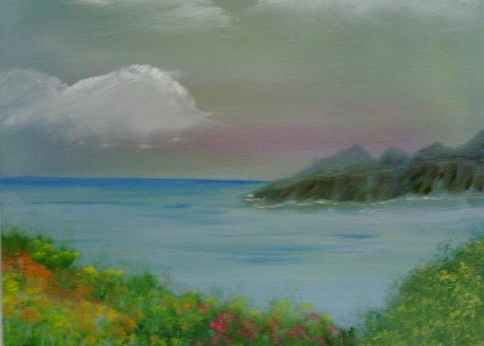 Ocean Greeting Card featuring the painting Ocean Meadow by Dottie Briggs