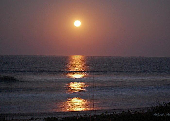 Ocean Greeting Card featuring the digital art Ocean Moon In Pastels by DigiArt Diaries by Vicky B Fuller