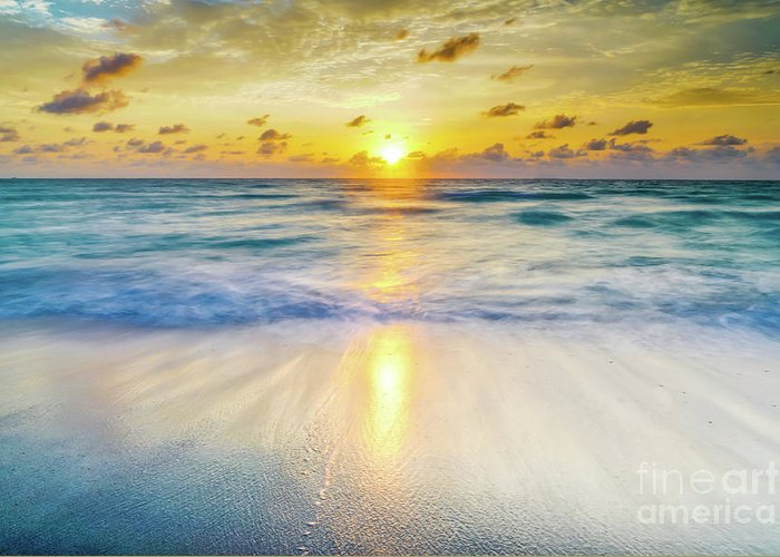 America Greeting Card featuring the photograph Ocean Reflections At Sunrise by DAC Photography