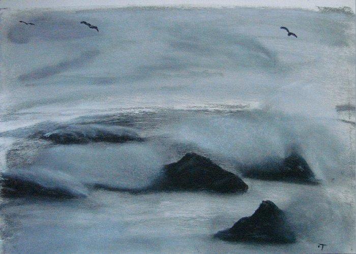 Ocean Greeting Card featuring the painting Ocean Rocks by Dottie Briggs