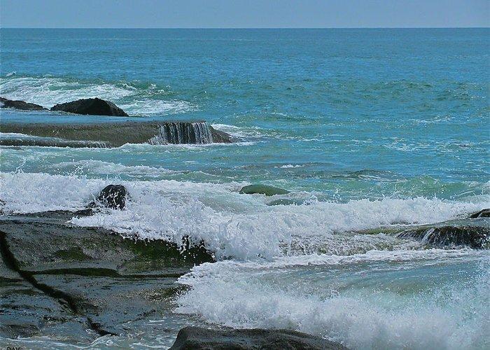 Ocean Roll Greeting Card featuring the photograph Ocean Roll by Debra   Vatalaro