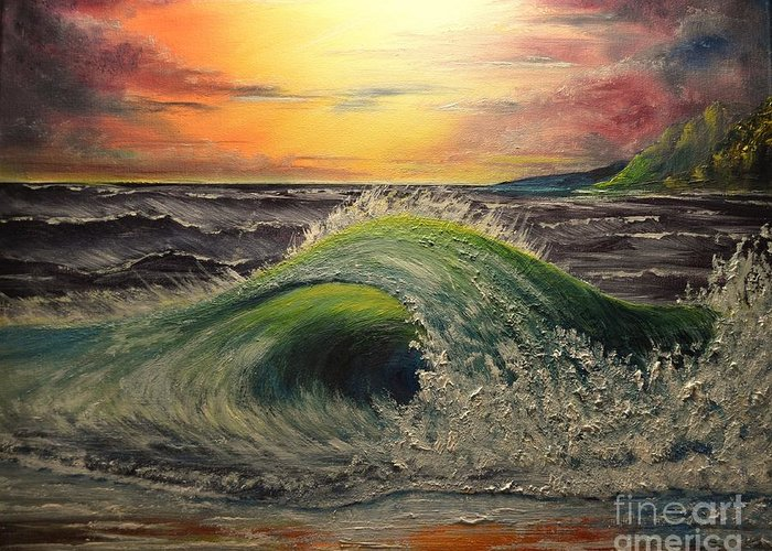 Ocean Greeting Card featuring the painting Ocean Sunset by Greg Moores