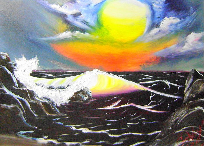 Sea Greeting Card featuring the painting Ocean Sunset by Nathaniel Gawayne Sutton