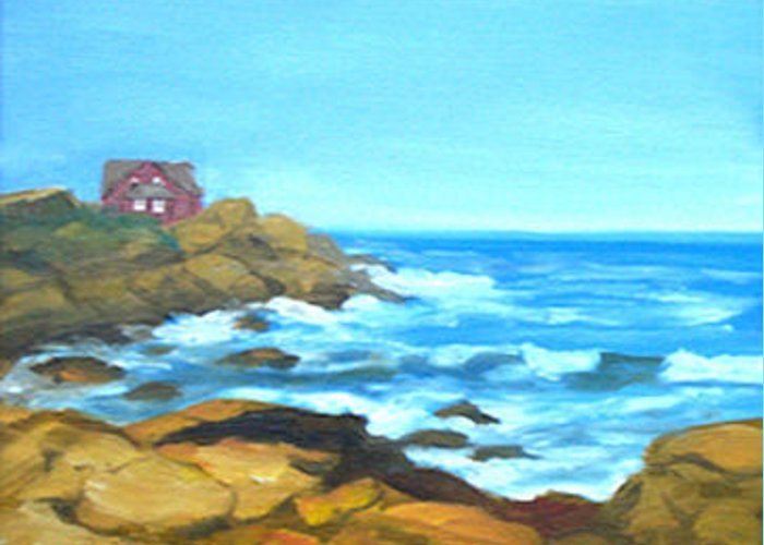 Landscape Greeting Card featuring the painting Ocean View by Anne Trotter Hodge