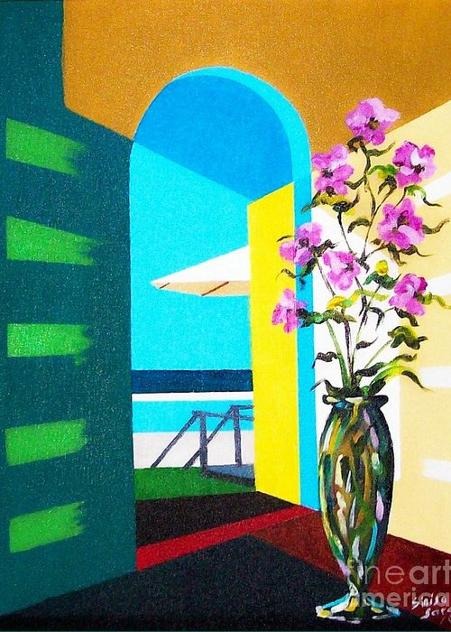Still Life Greeting Card featuring the painting Ocean View by Sinisa Saratlic
