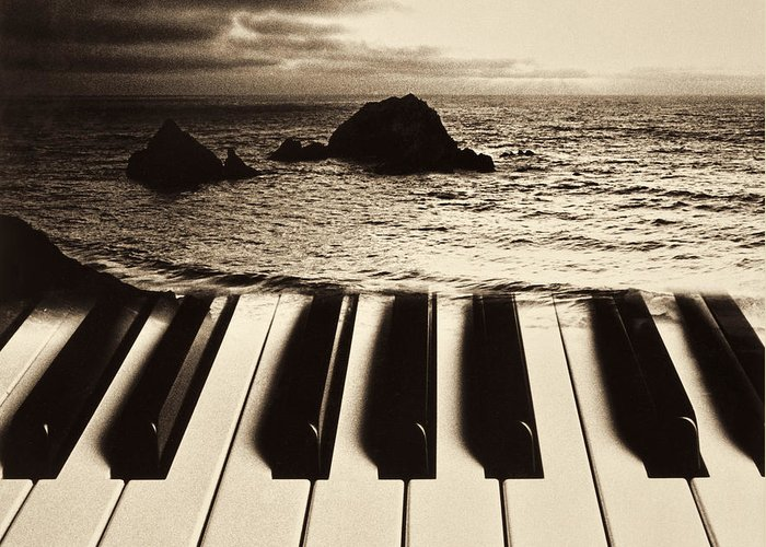 Ocean Greeting Card featuring the photograph Ocean Washing Over Keyboard by Garry Gay